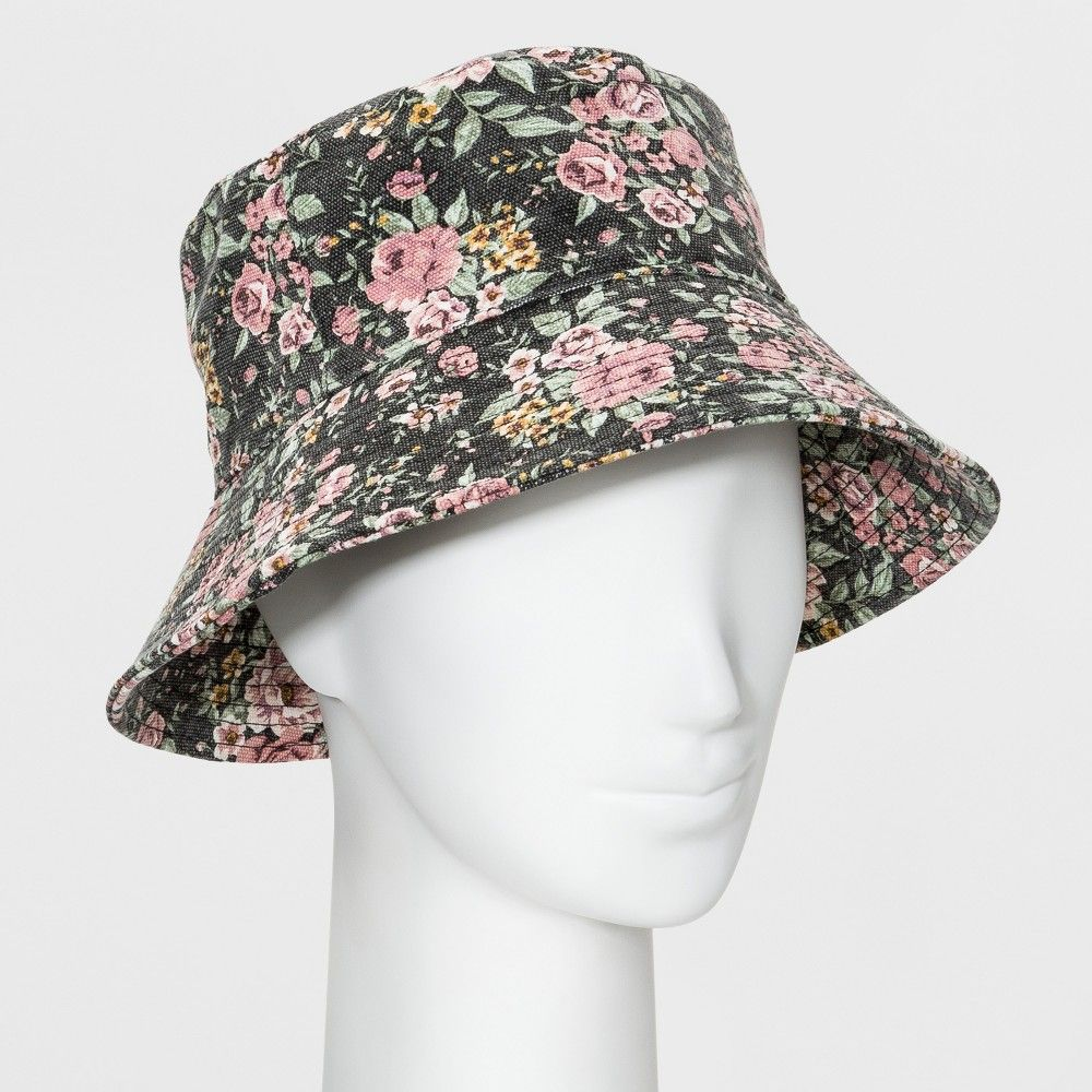 c62999b46 Women's Oversized Washed Floral Bucket Hat - Wild Fable Black in ...