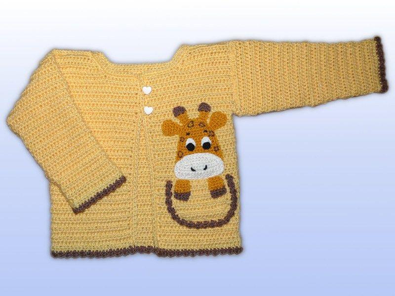 Babyjacke Häkeln Gr 68 Applikation Giraffe Bekleidung Häkeln