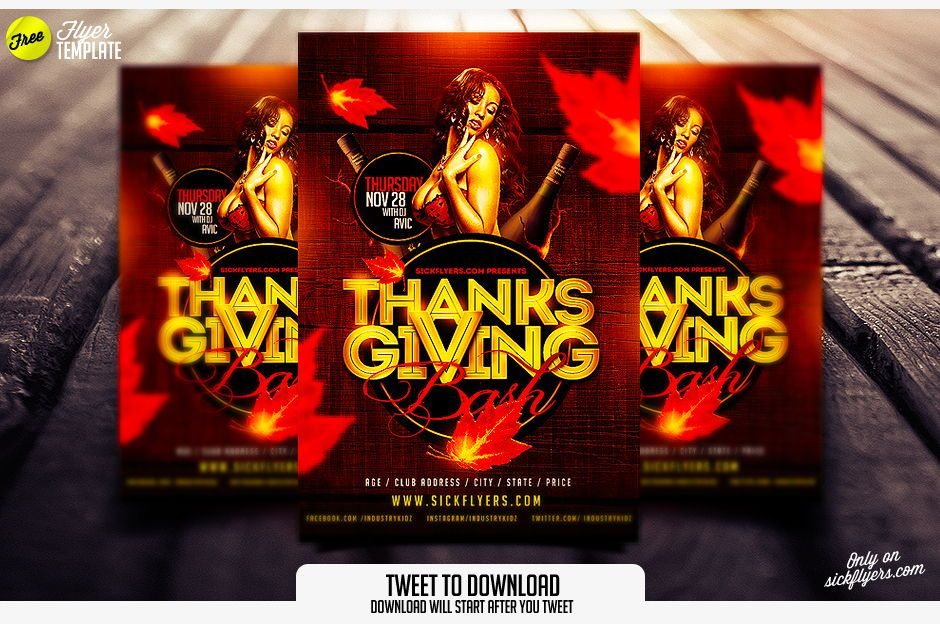 Free Thanksgiving Flyer Template Sickflyers Projects To Try