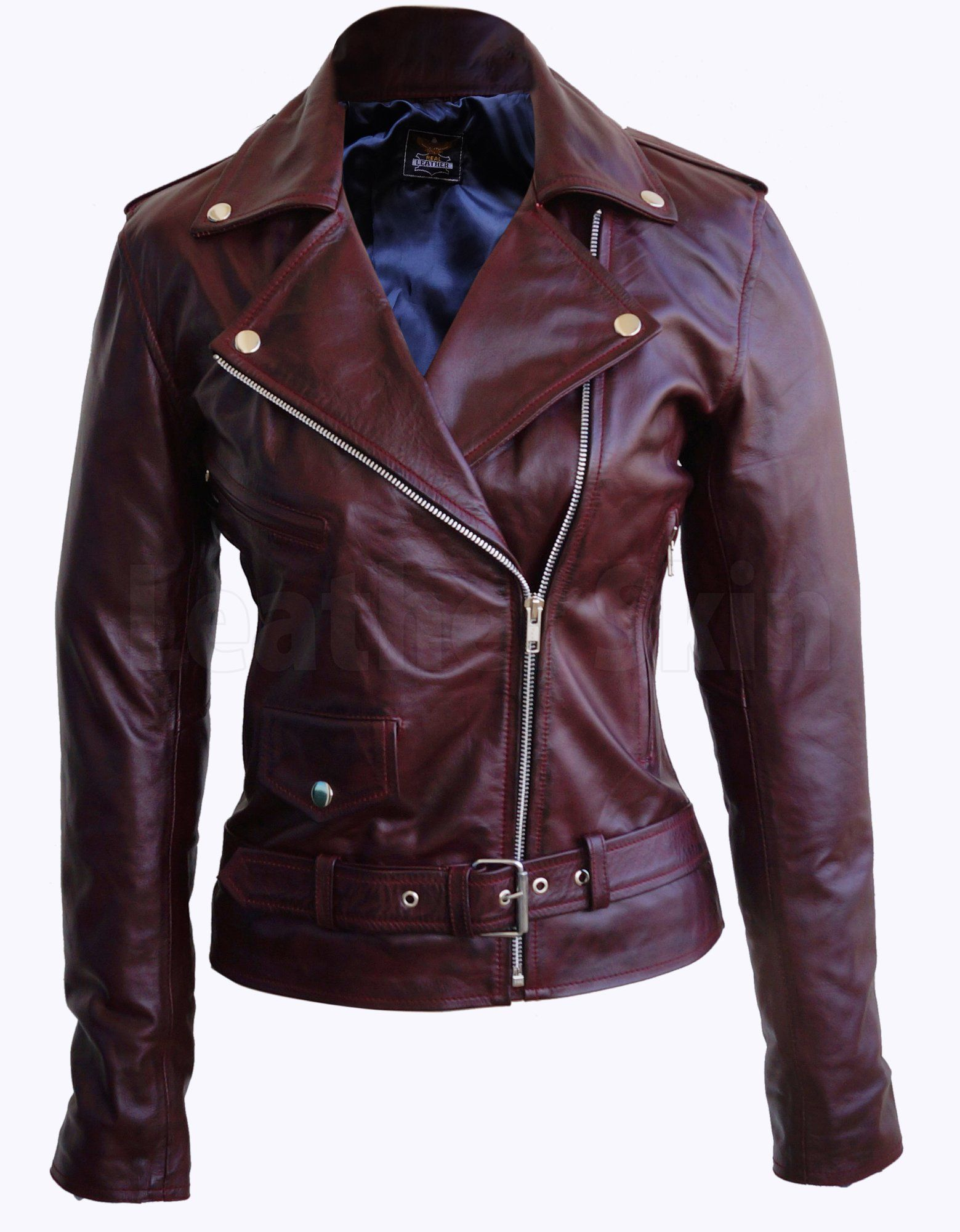 Women Distressed Red Brando Belted Sheep Leather Jacket With Epaulettes Leather Jackets Women Leather Jacket Celebrities Leather Jacket [ 2000 x 1559 Pixel ]