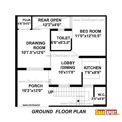 House Plan For 30 Feet By 30 Feet Plot Plot Size 100 Square Yards House Plans House Map Home Design Floor Plans