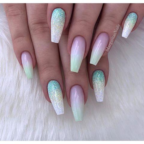 Pastel Lime Green Ombré Coffin Nails Glitter Nail Art Design Spring Summer