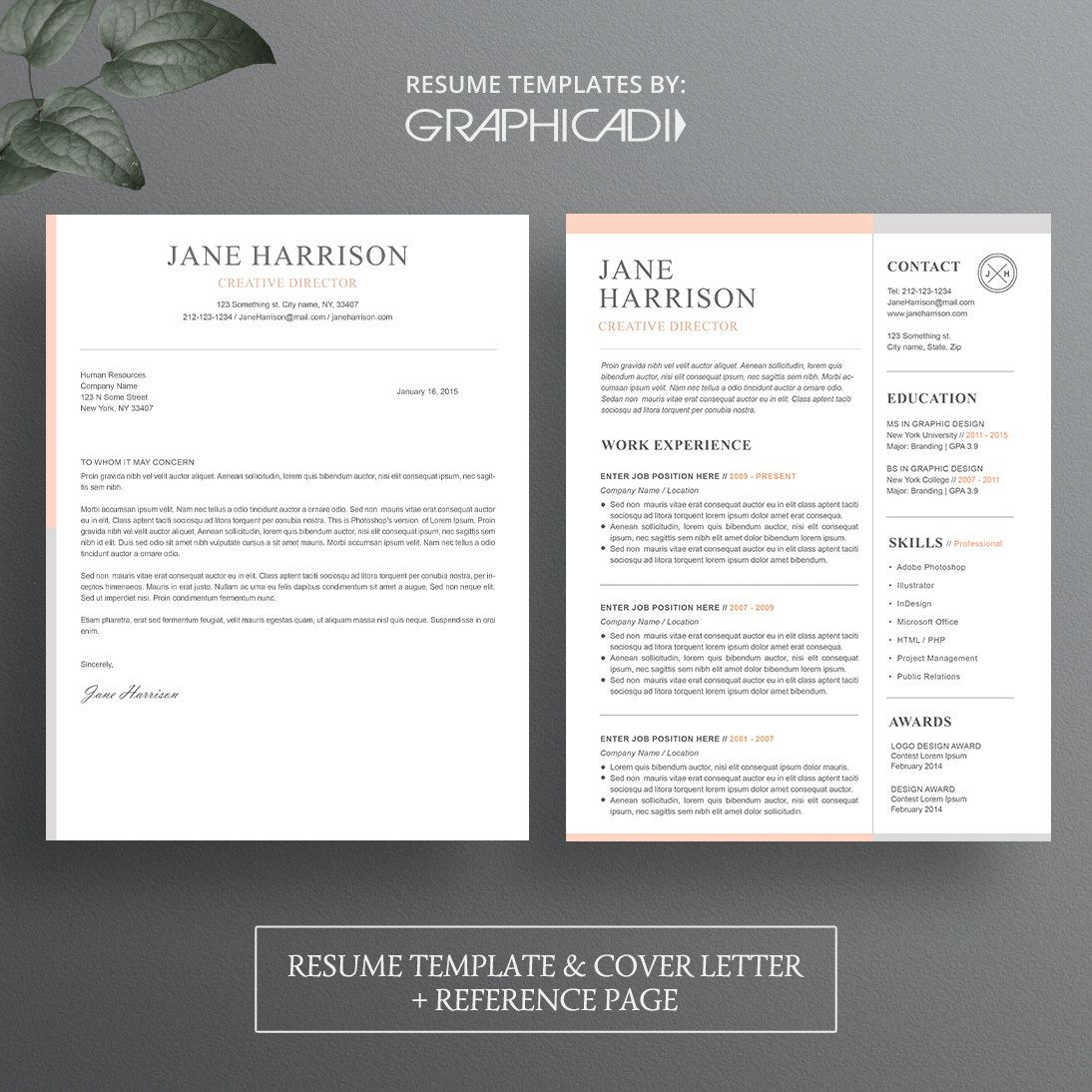 Resume Template with Cover Letter and Reference Page