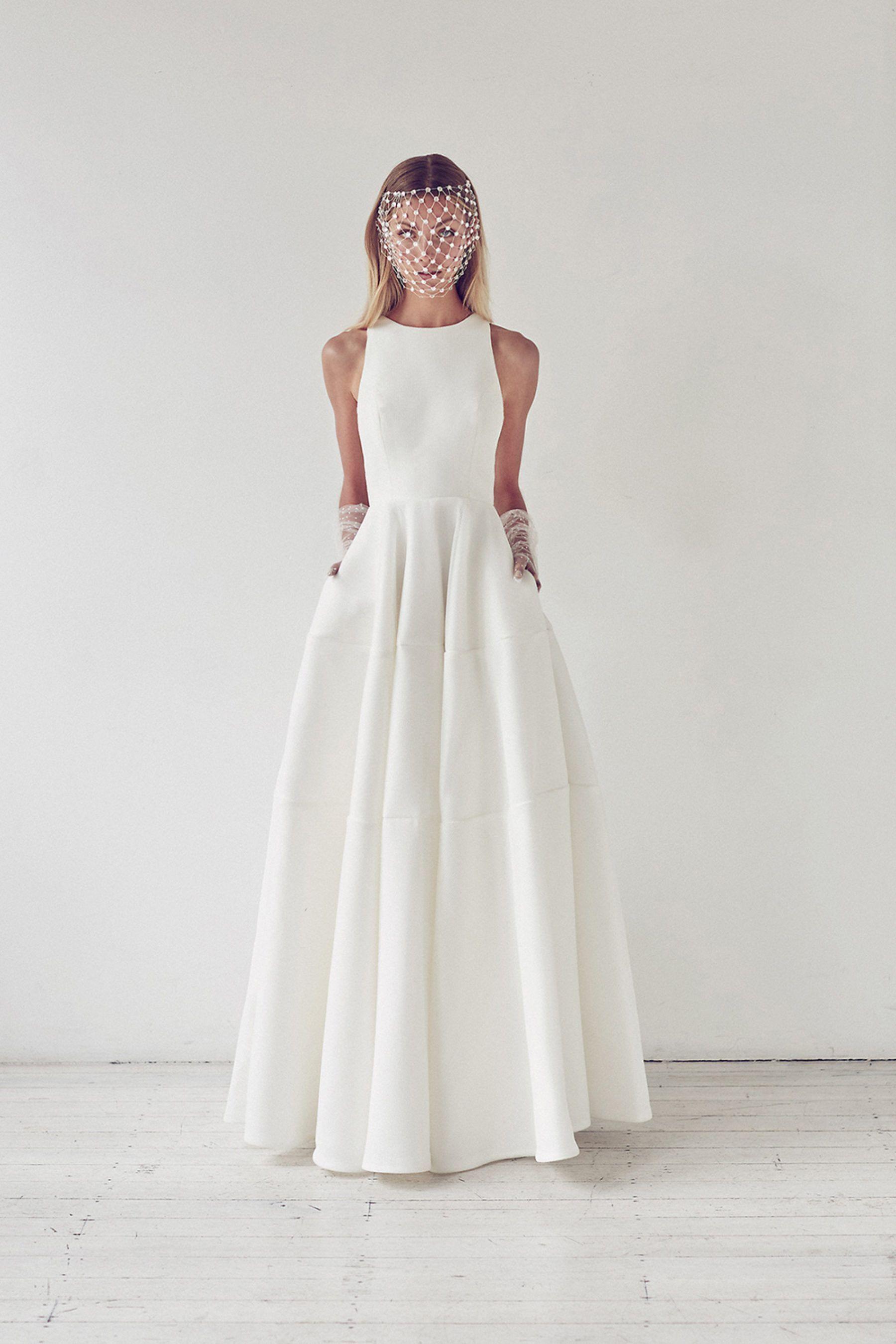 Simple Elegant Satin Floor Length Wedding Dress, Round