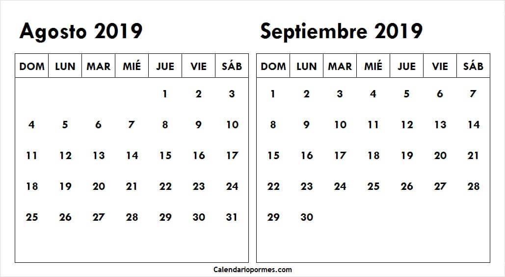 Calendario De Agosto Y Septiembre 2019.Calendario Agosto Y Septiembre 2019 Chile 2019 Para