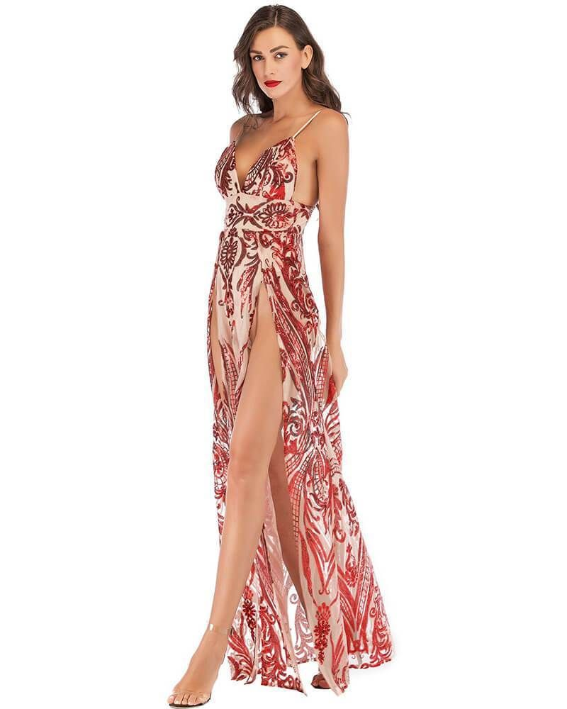 7dcd79bc78a4a Red Pattern Sequin Thigh High Slit Party Evening Gown Maxi Slip ...