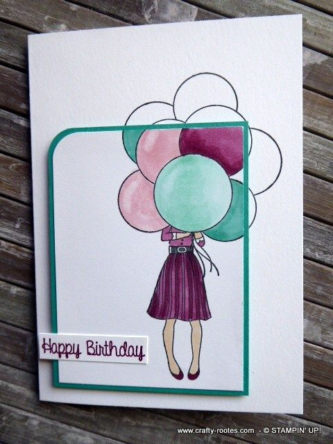 Birthday card with balloons made using Stampin' Up products