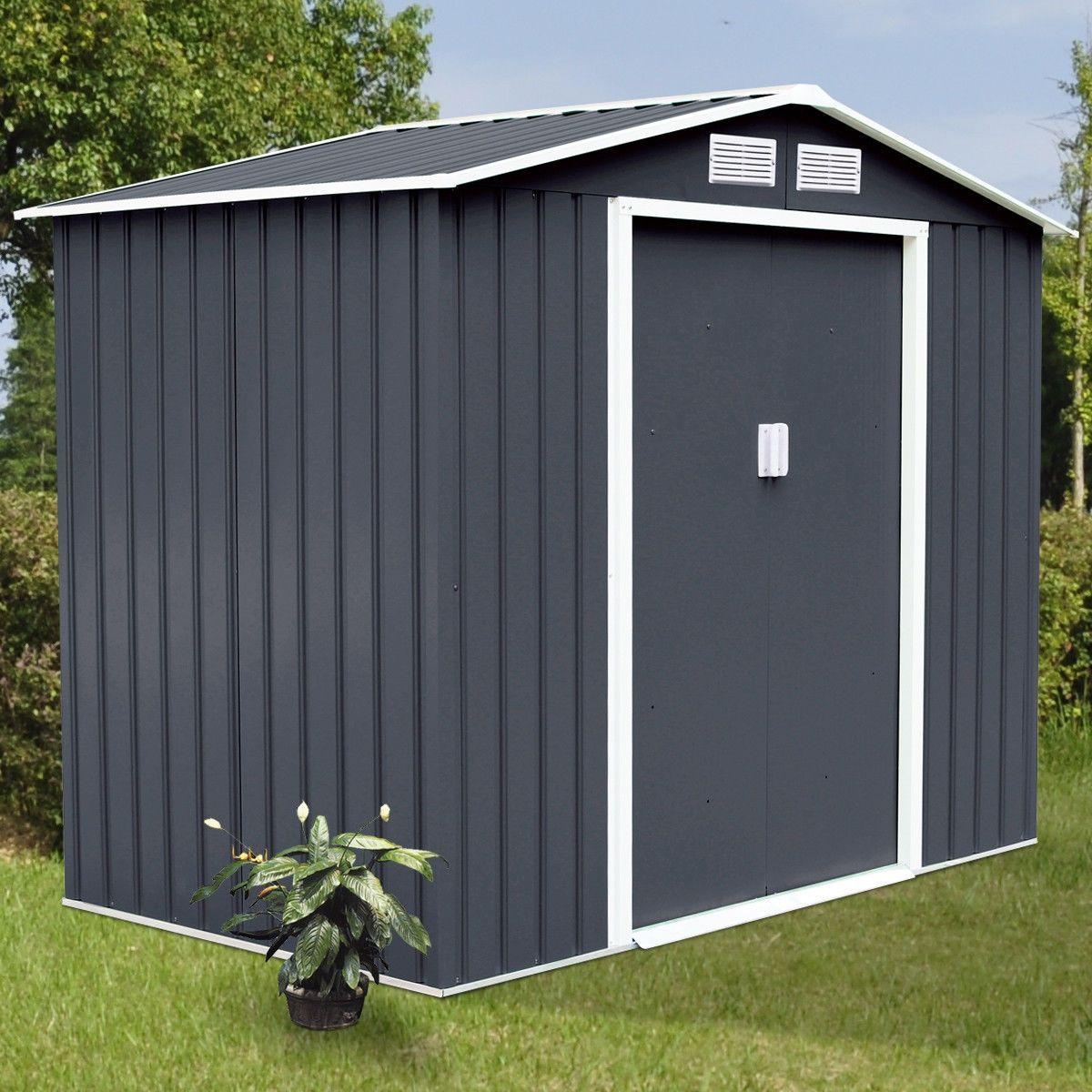 7 X 4 Outdoor Garden Storage Shed Tool House With Sliding Door In 2020 Outdoor Garden Storage Garden Storage Shed Outdoor Storage Sheds