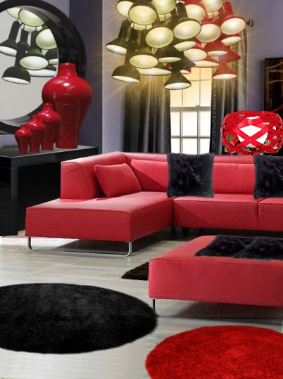 un salon lumineux en rouge et noir salons lumineux salon et rouge. Black Bedroom Furniture Sets. Home Design Ideas