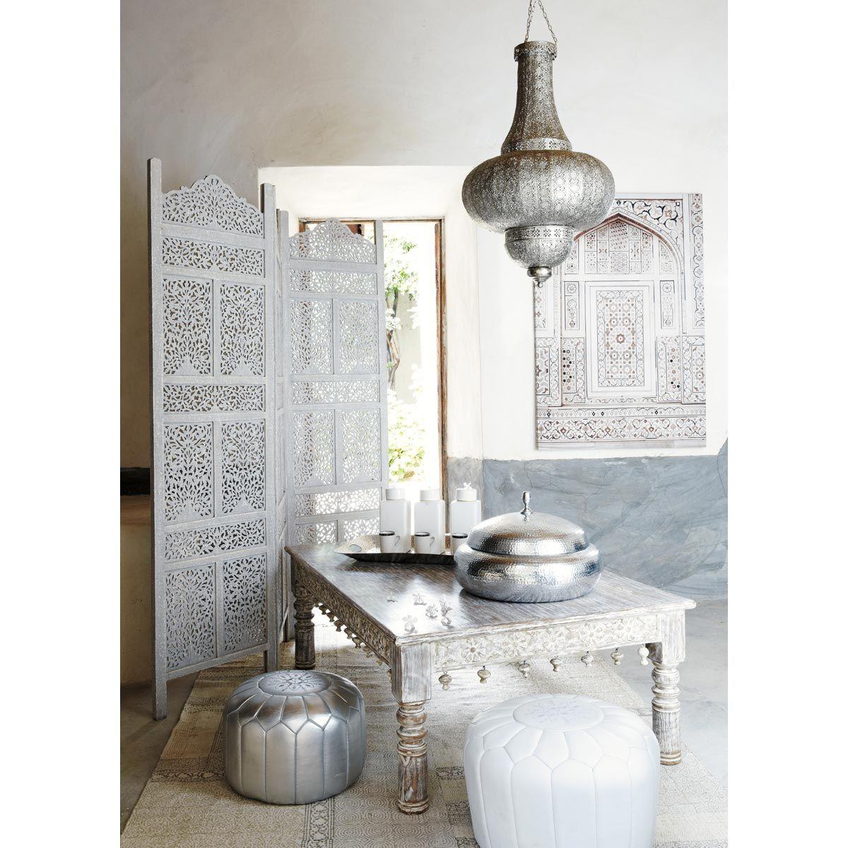 pouf marocain cuir blanc | morocco | pinterest | table basse