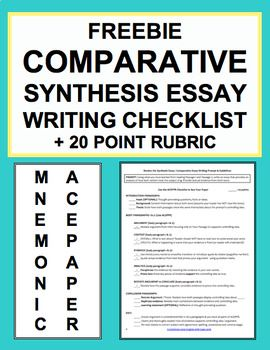 Synthesis Essay Writing Checklist Guide  Rubric Free Synthesis  Synthesis Essay Writing Checklist Guide  Rubric Free Synthesis Essay  Writing Checklist Writing Prompt