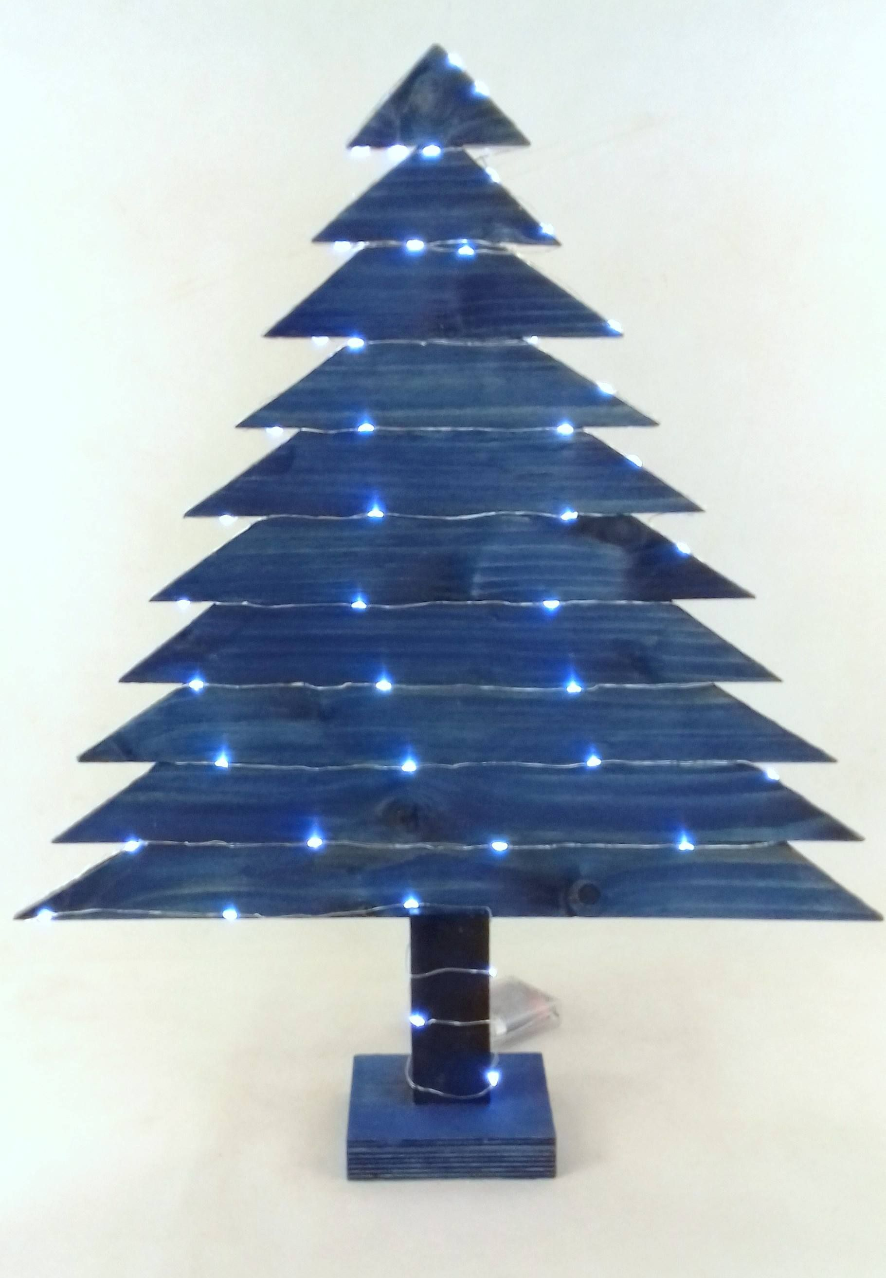 Niebieska Drewniana Choinka 50 Led Mala Fabryczka Pallet Tree Wood Tree Tree Decor