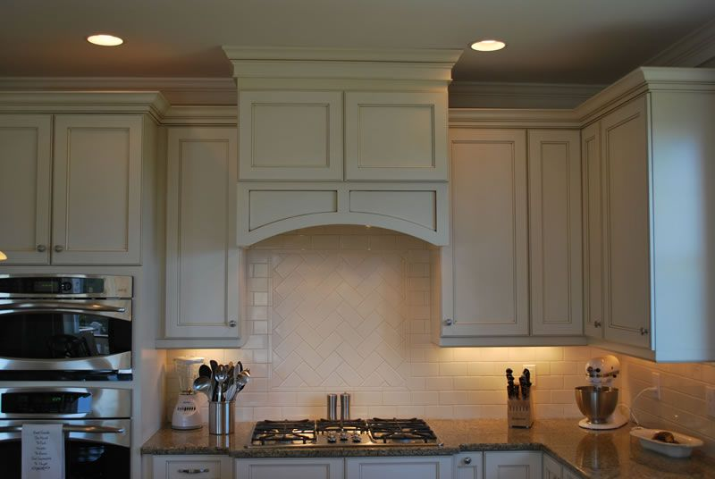 Modern Kitchen Exhaust Hood Covered Wooden Kitchen Stove