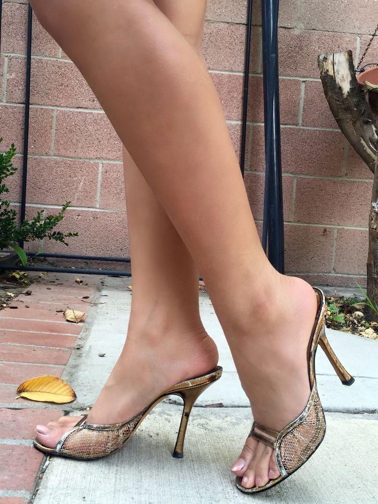 f303c4b8eb JIMMY CHOO Metallic Gold Lace Open Toe Stiletto Slides Heels Shoes used 38 # JimmyChoo #Mules #Casual
