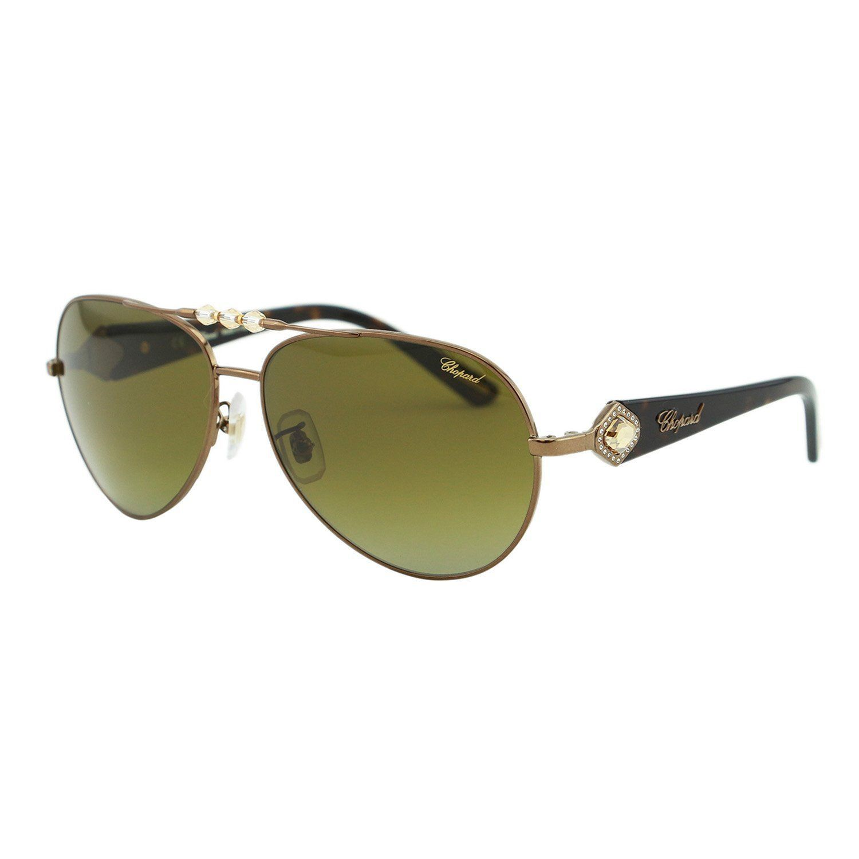 b70ea05e09 Chopard SCH 997S R80P Women Olive Brown   Bronze Polarized Swarovski  Aviator Sunglasses