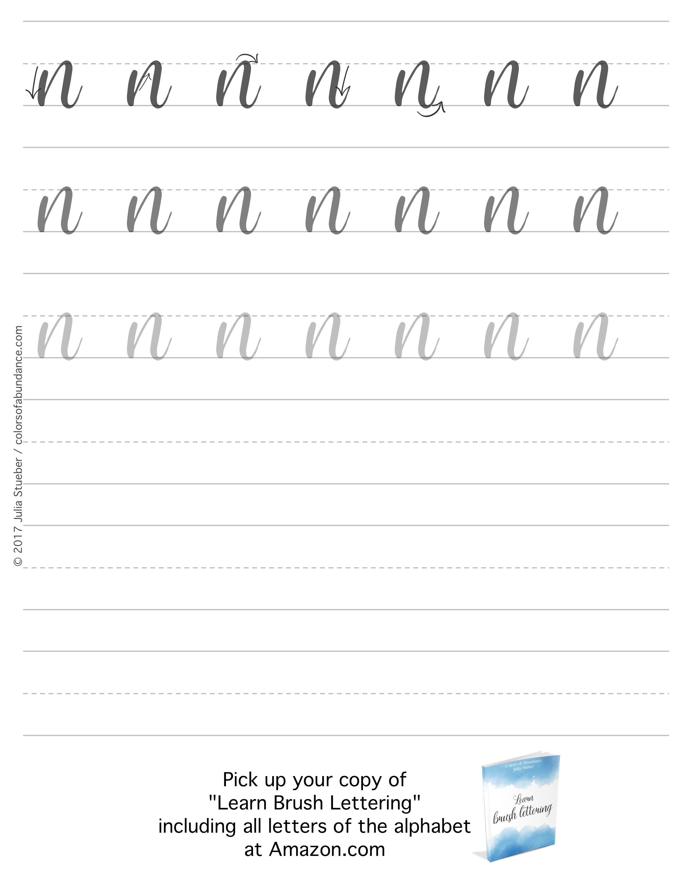 Brush Lettering Alphabet Lowercase Worksheet For The Letter N