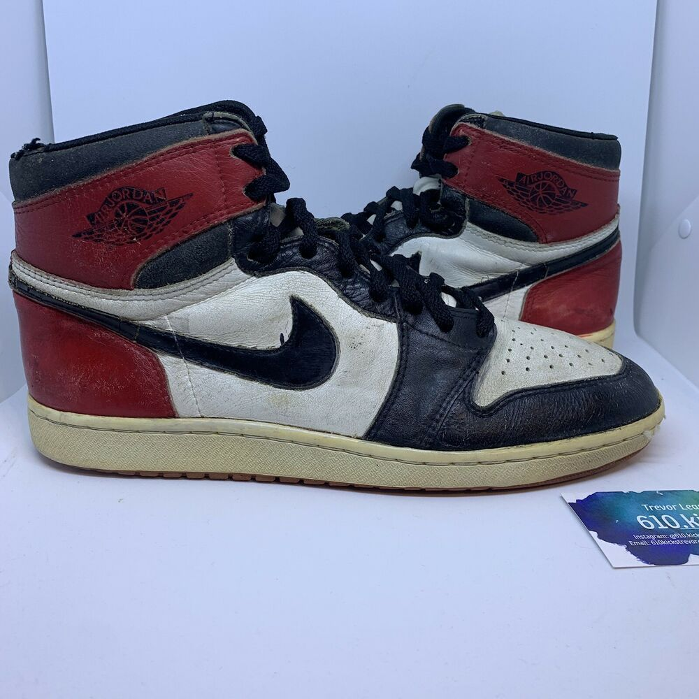 fd04115a3e2 Original 1985 Nike Air Jordan 1 Black Toe Size 11 ( 80 Bids ...