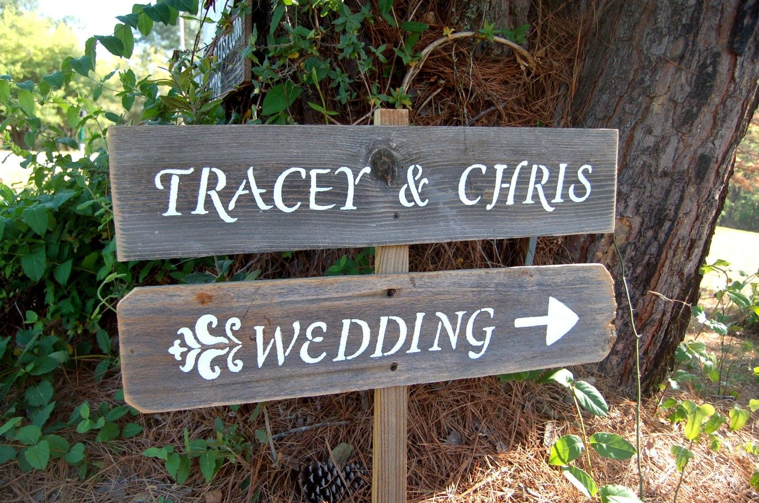 Country Wedding Decorations | French Country Wedding Signs. His & Her Names. Rustic Wedding Decor ...