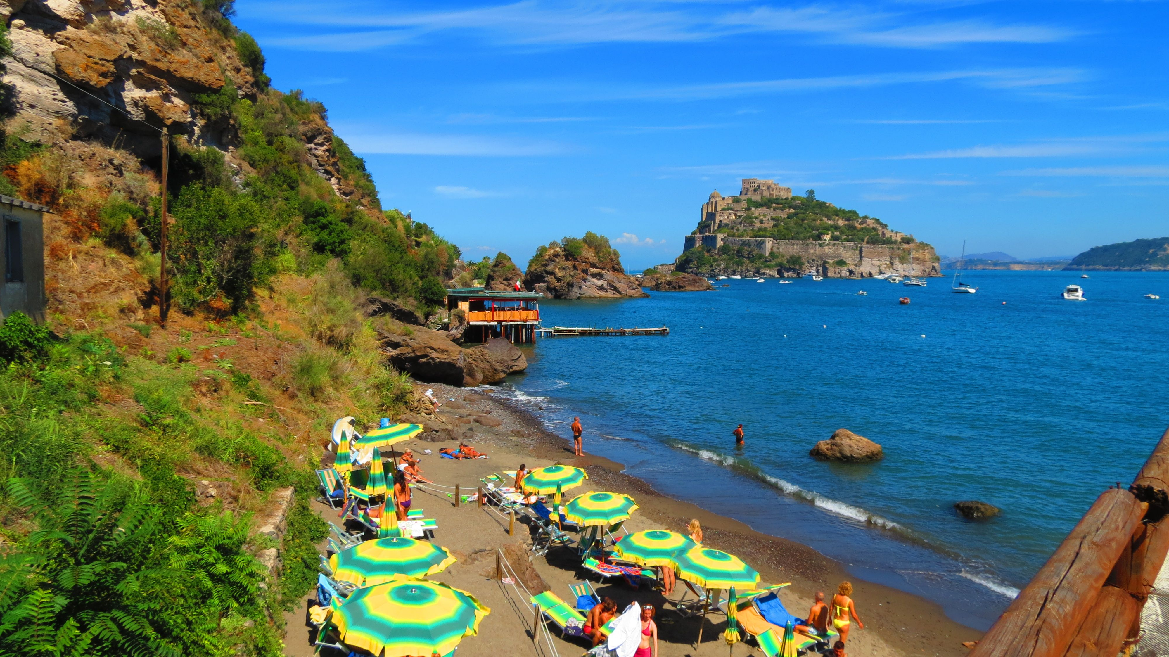 Cartaromana Beach in Ischia Ponte, Ischia. Part of the
