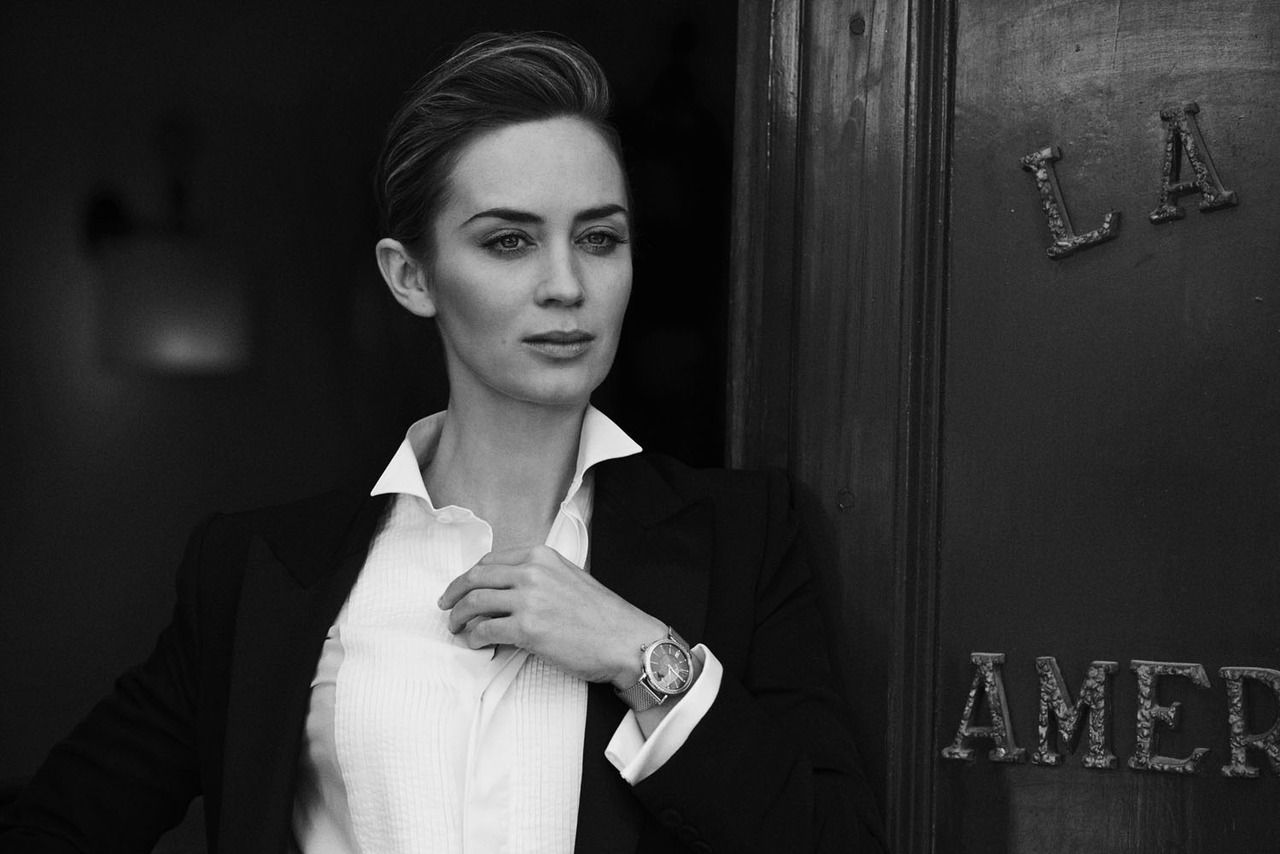 Emily Blunt, photographed by Peter Lindbergh for IWC Schaffhausen - A Sparkle to the Wrist - Portofino Midsize Collection, 2014.