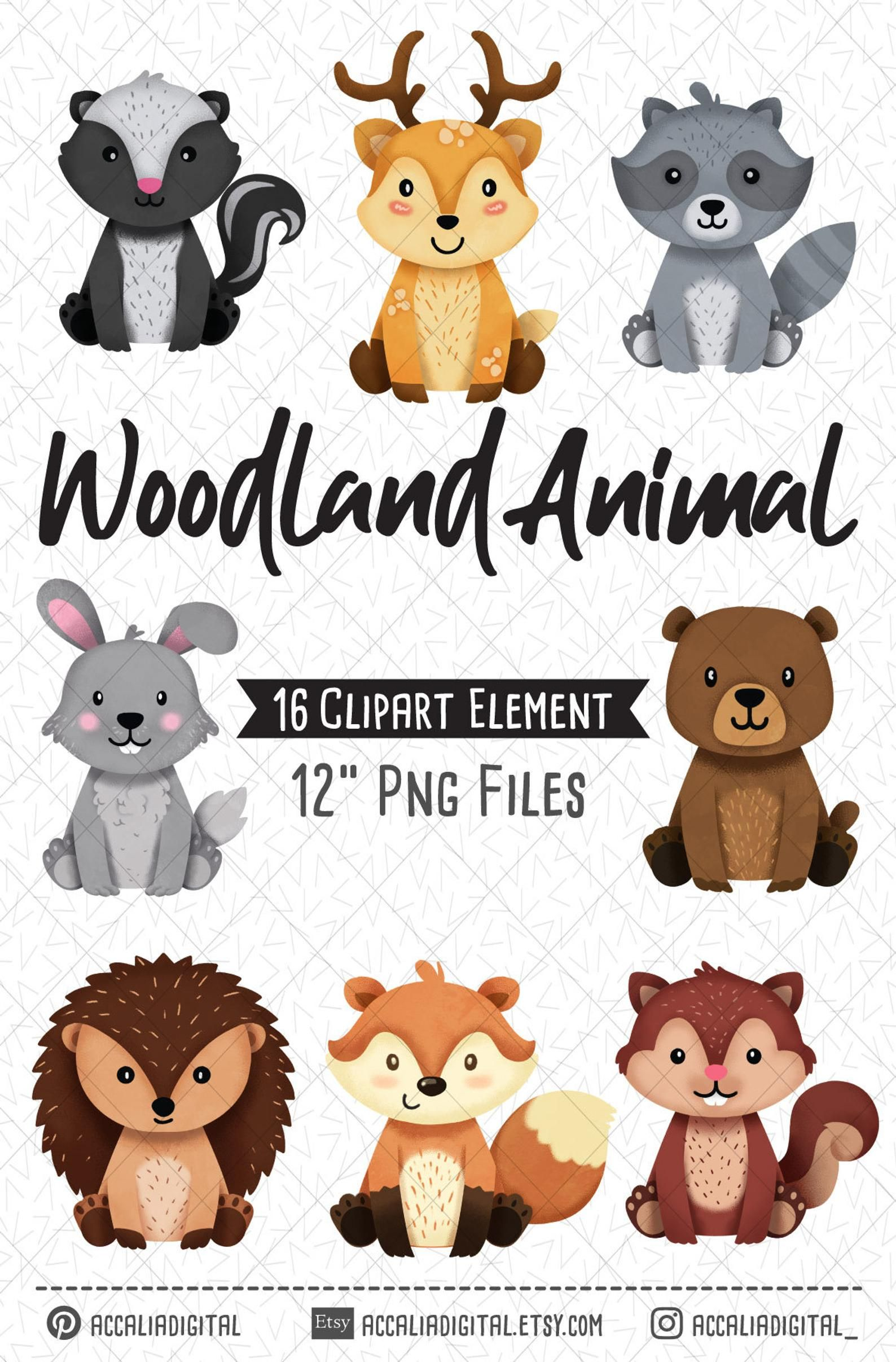 Woodland animals Clipart, Raccoon, Fox, Forest Friends