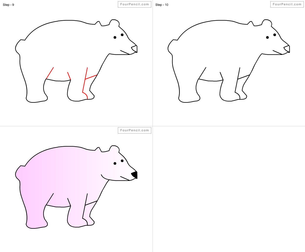 How To Draw Polar Bear For Kids Step By Step Drawing