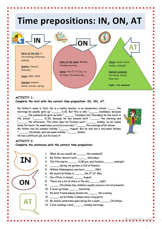 Time Prepositions IN, ON, AT worksheet Free ESL