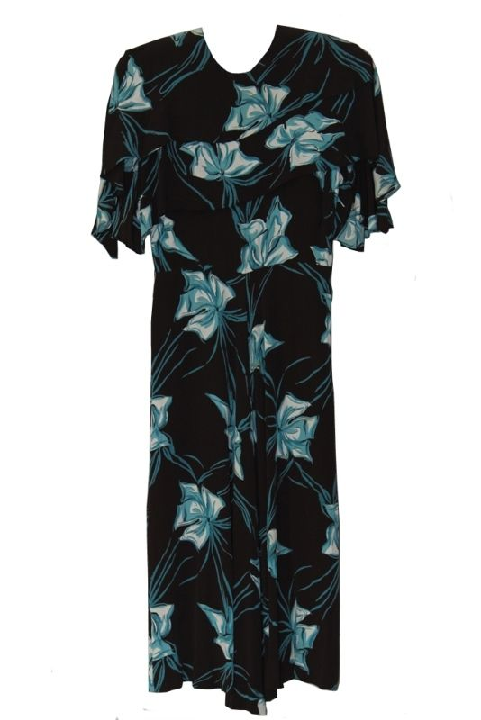 Vintage 1940s Blue and Brown Floral Rayon Dress, with Side Metal Zip, Approx. UK Size 8 / 10