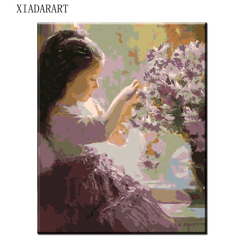 8070 Digital Diy Oil Painting By Numbers Flower Girl Wall Decor Picture On Canvas Oil Paint Coloring By Number Draw Colorful Oil Painting Diy Painting Painting