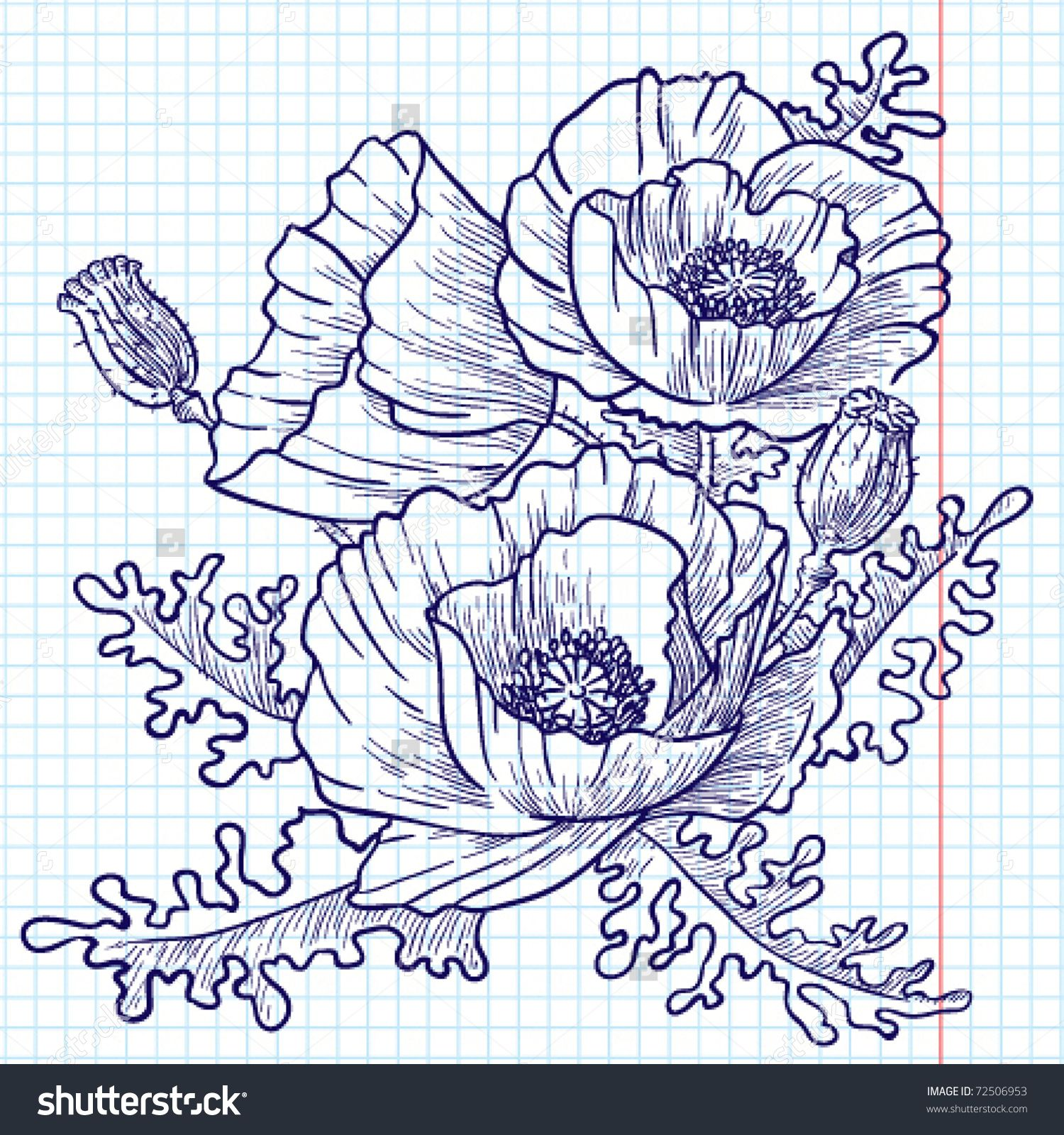 Bouquet of red poppies (doodle version) Poppies tattoo