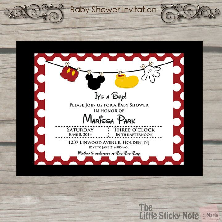 Mickey Mouse Baby Shower Invitations | Pinterest | Mickey mouse baby ...
