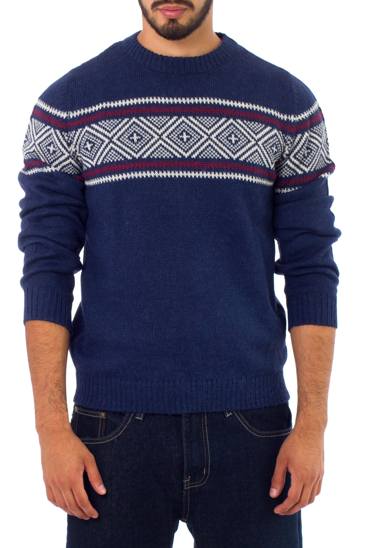 9c79dc59dcde13 Men s Unique Peruvian Geometric Alpaca Wool Sweater
