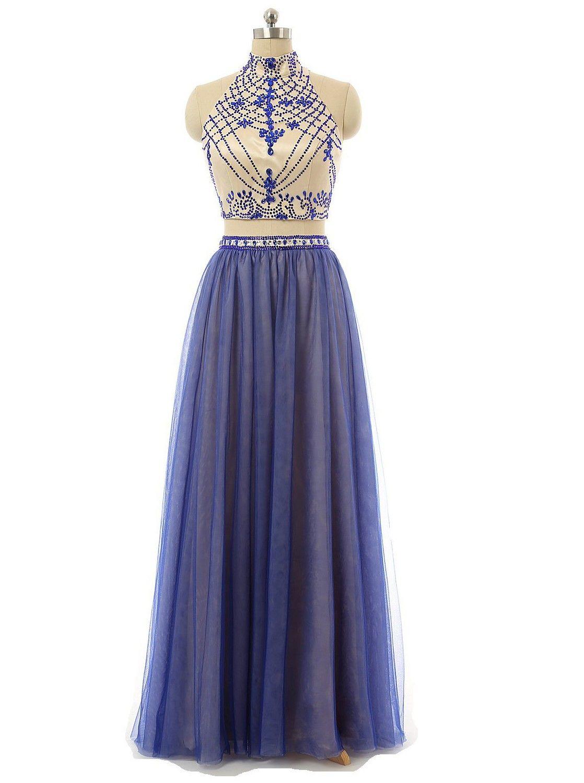 Buy two pieces halter neck aline tulle floorlength prom dress
