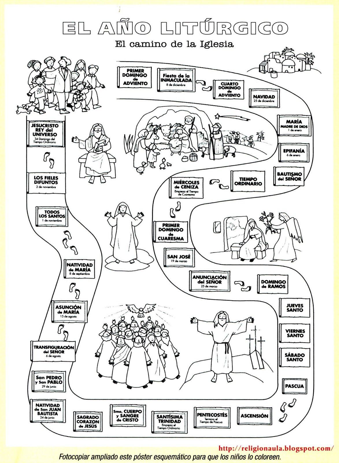 Clases de Religión Católica: El año litúrgico imagen para pintar ...