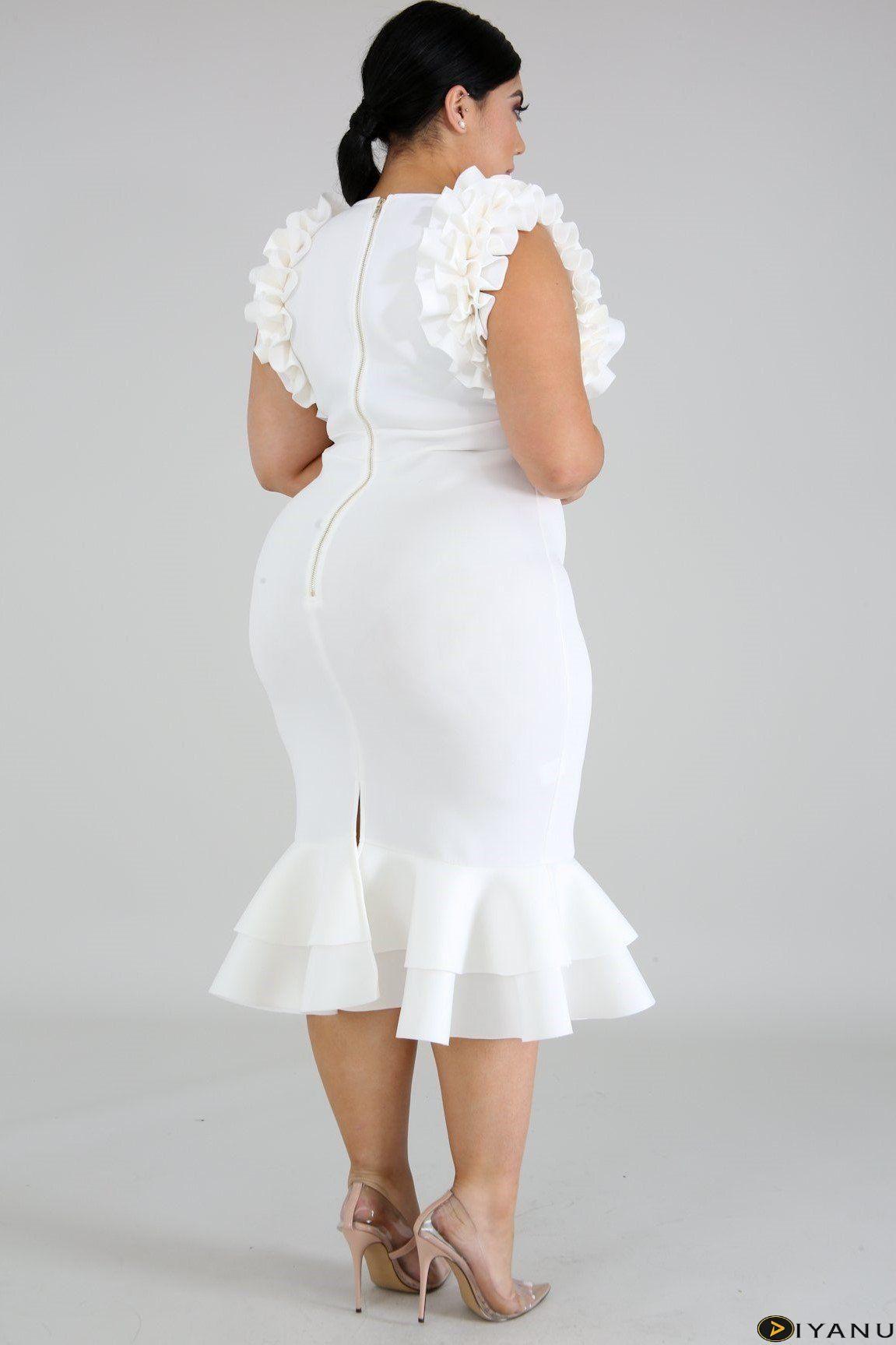 Plus size rumba ruffle mermaid midi dress ivory at