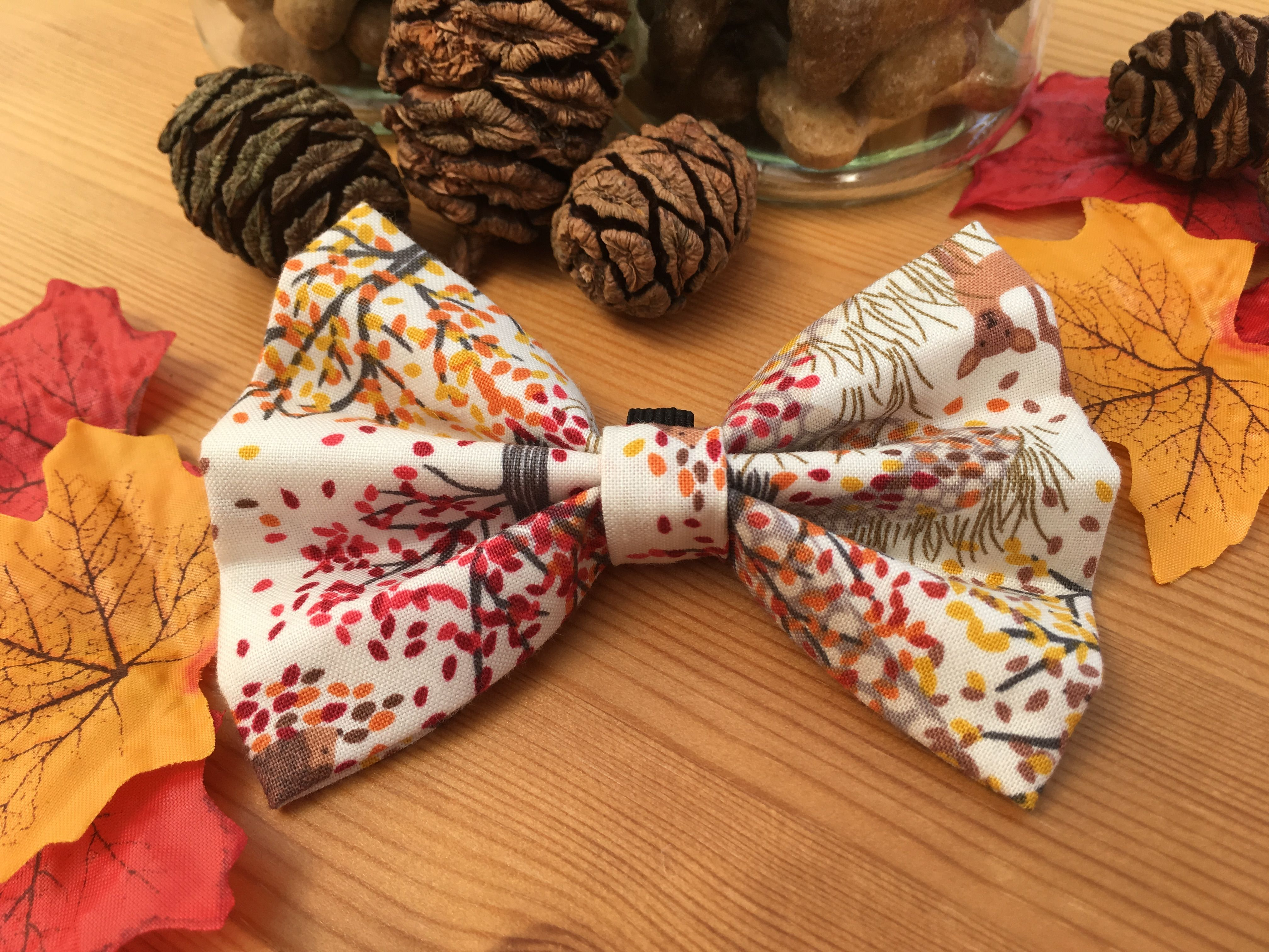 Autumn in Deer Wood Dog Bow Tie Perfect for those autumn