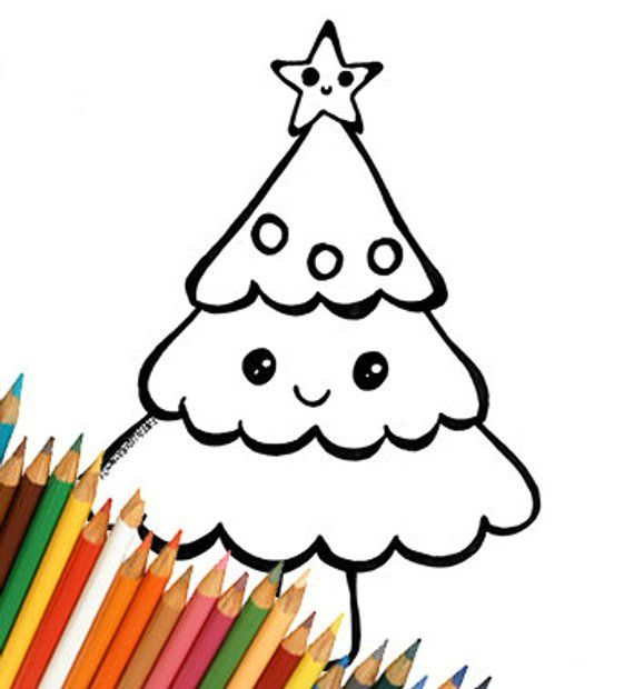 Christmas Tree Kawaii Cute Drawing Coloring For Kids Download