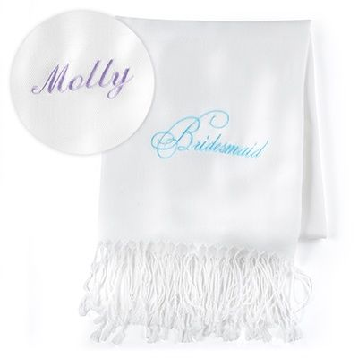 """Bridesmaid - Pashmina - Personalized - White - This white scarf made of fine-quality material comes personalized and features a """"Bridesmaid"""" design embroidered in aqua. 28' x 72'"""