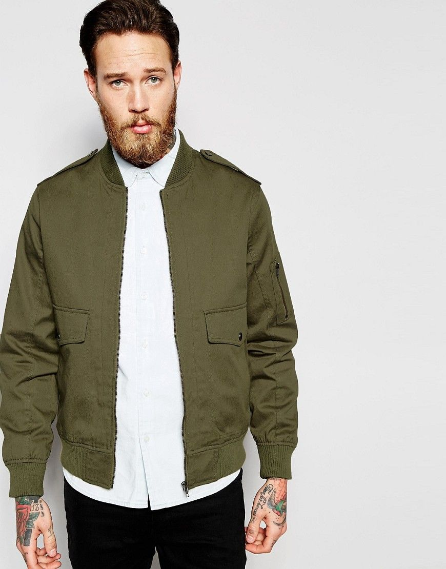 Asos Military Bomber Jacket With Ma1 Pocket In Khaki At Asos Com Military Bomber Jacket Green Jacket Men Mens Outfits [ 1110 x 870 Pixel ]