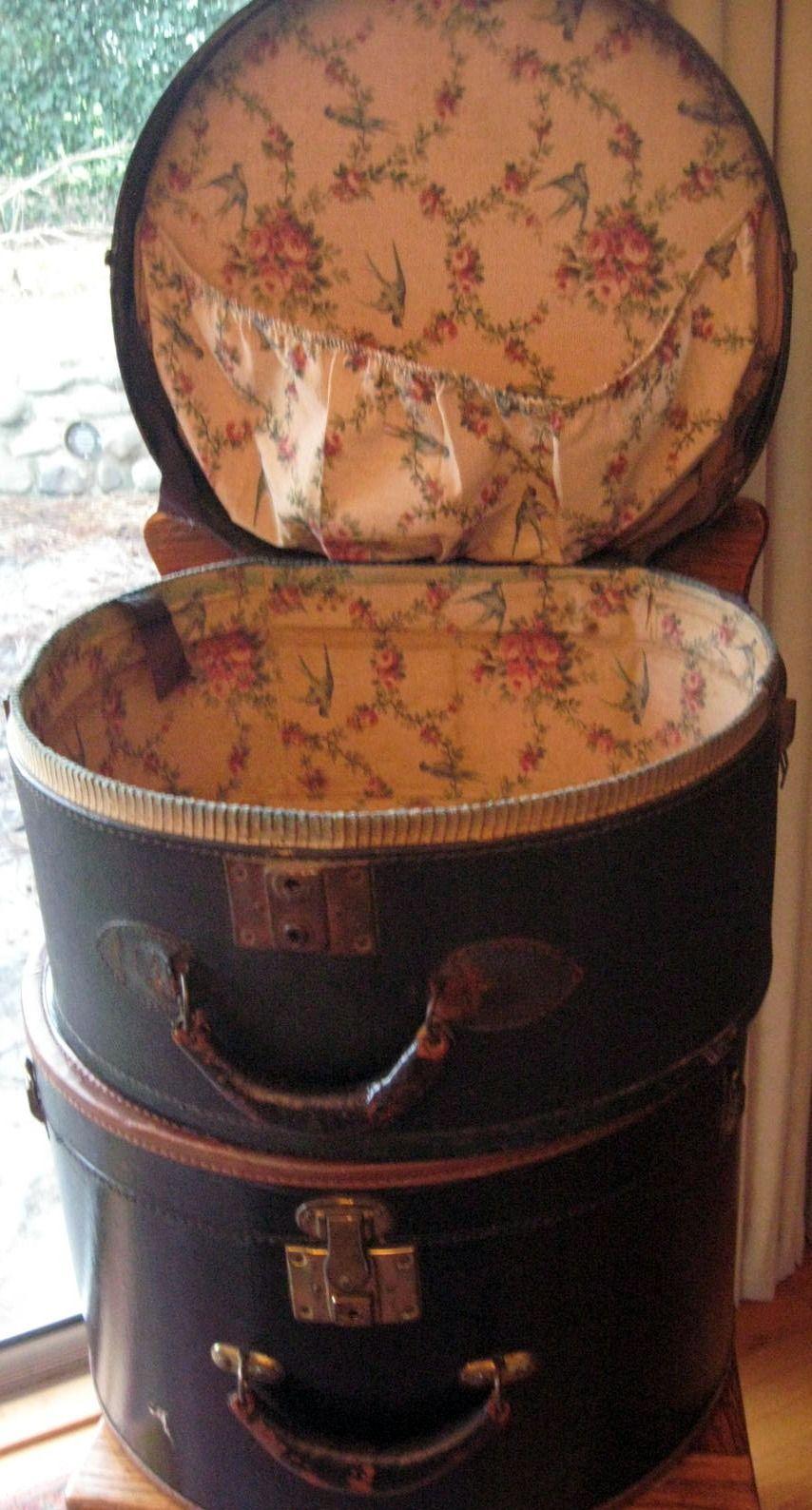 Vintage Fabric Lined Train Hat Case Vintage Hat Boxes Vintage Suitcases Hat Boxes