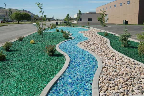 recycled blue glass landscape