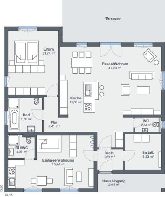 Hausdetailansicht Einliegerwohnung, Haus mit