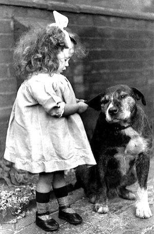 Vintage Dog with Girl