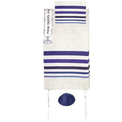 Talitnia Wool Blend Carmel Tallit Prayer Shawl MATCHING BAG NOT INCLUDED in White and Gold Shades Herringbone Weave