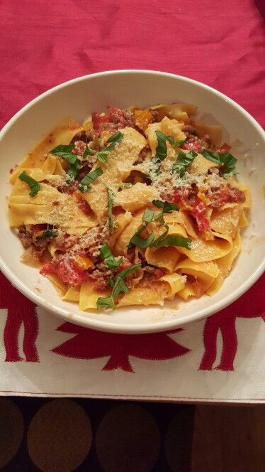 Pappardelle with Italian sausage, tomato and basil........and some other goodness too!