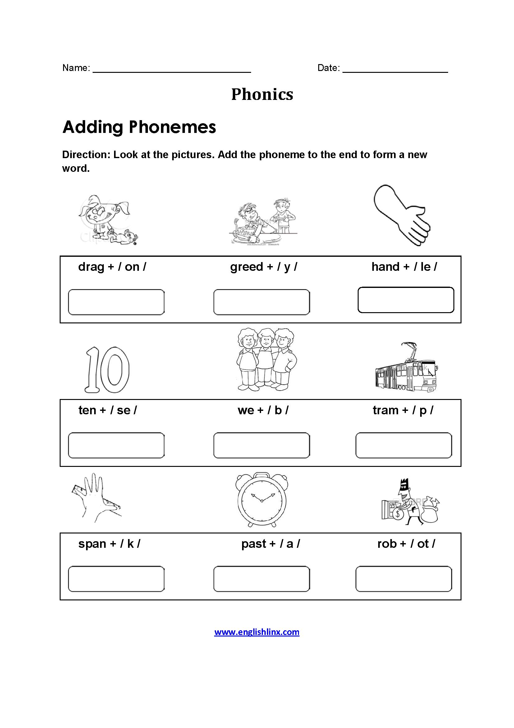 Adding Phonemes Phonics Worksheets