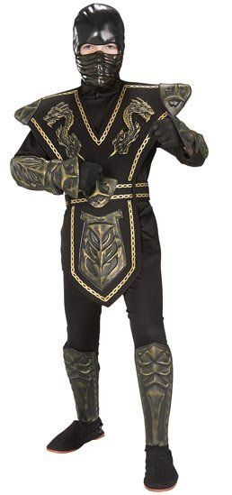 Gold Dragon Warrior Ninja Child Boys Costume