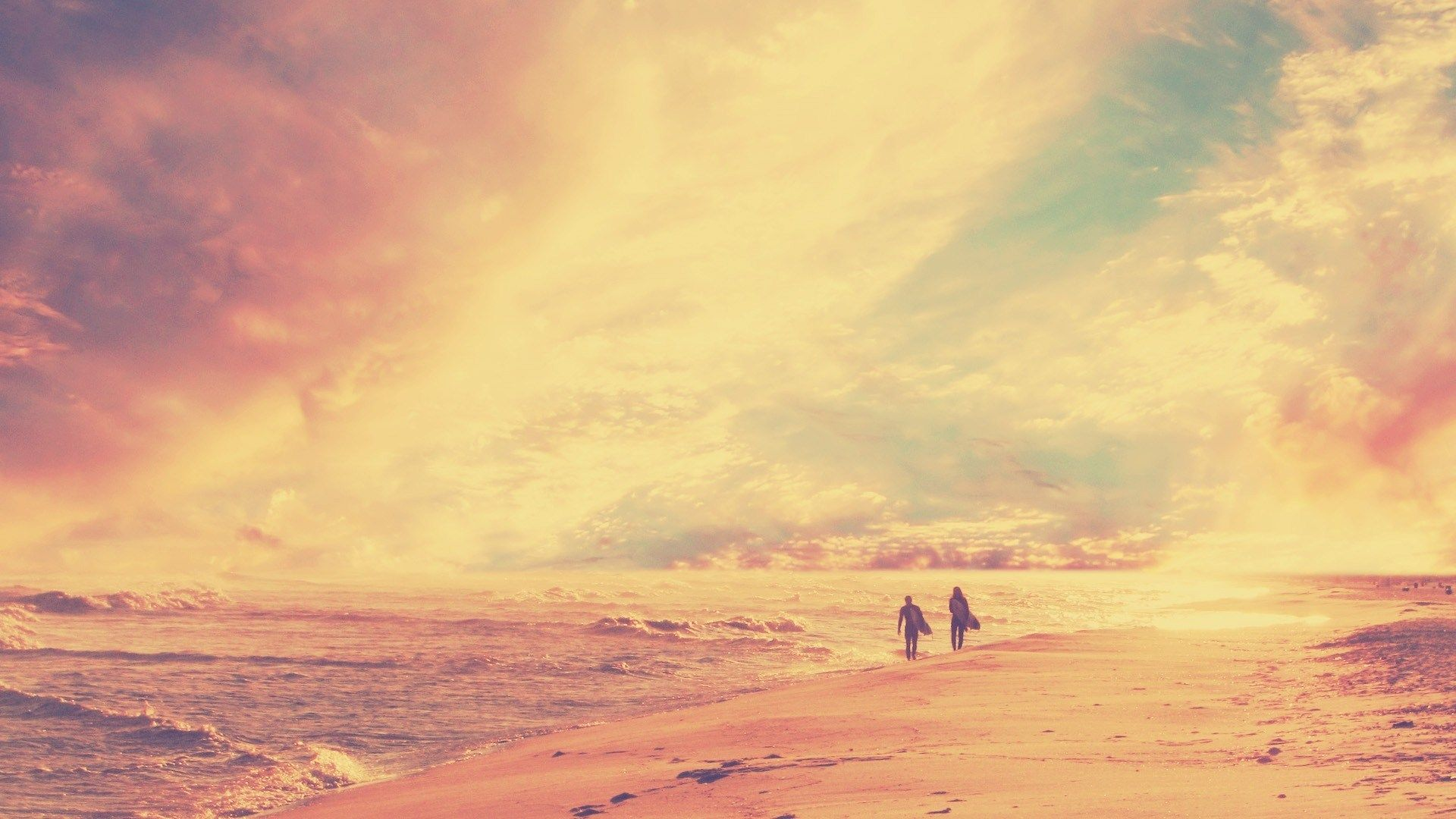 Beach Dawn Minimalism People Retro Beach Together Vintage Nature Vintage Beach Photography Hipster Wallpaper Beach Photography