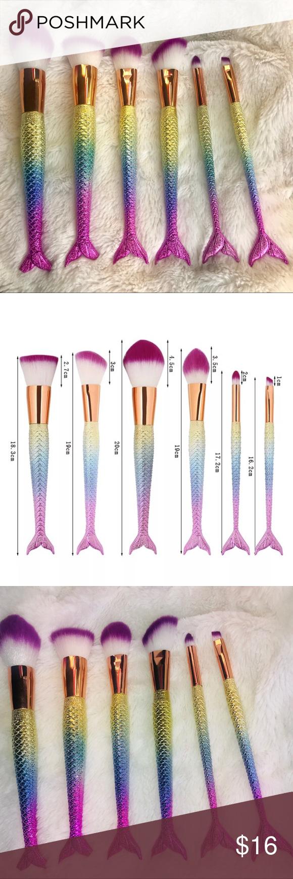 Brand new 6 Piece Mermaid Makeup Brushes • • Brand new