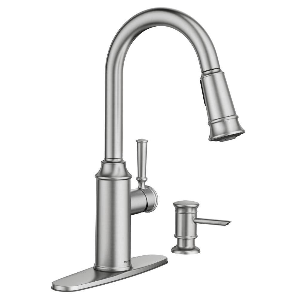 MOEN Glenshire Single-Handle Pull-Down Sprayer Kitchen Faucet with ...